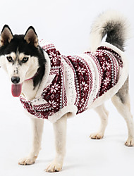 """cheap -dog fleece coat cold weather dog vest snowflakes pile hoodie for large dogs pet costume with elk printing good keep warm jackets and gifts for labrador golden retriever border (28 (back25.4""""), blue)"""