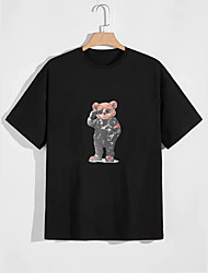 cheap -Men's Unisex T shirt Hot Stamping Bear Animal Plus Size Print Short Sleeve Casual Tops 100% Cotton Casual Fashion Black