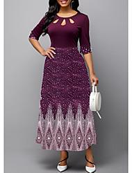 cheap -Women's A Line Dress Maxi long Dress Blue Purple Green Half Sleeve Print Patchwork Print Fall Summer Round Neck Vintage 2021 S M L XL XXL 3XL 4XL 5XL