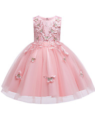 cheap -Kids Little Girls' Dress Butterfly Flower Prom Wedding Party Embroidered Tulle Bow White Red Blushing Pink Fashion Princess Sweet Dresses 3-12 Years