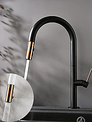 cheap -Kitchen Faucet Contemporary Single Handle One Hole Painted Finishes Pull-out High Arc Antique Kitchen Taps Adjustable to Cold and Hot Water