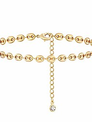 cheap -Gold Pig Nose Anklets for Women 14K Gold Plated Dainty Boho Beach Foot Chain Adjustable Ankle Bracelet for Women