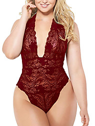 cheap -Women's Normal Backless Mesh Lace Super Sexy Chemises & Gowns Undergarments Lingerie Lingerie - Spandex Special Occasion Party / Evening Solid Colored Bras & Panties Sets Purple Fuchsia Burgundy S M L