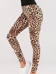 cheap -Women's Sports Leggings Sweatpants Pants Leopard Full Length Yellow