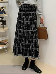 cheap -Women's Daily Vacation Elegant Sophisticated Skirts Plaid Tassel Fringe Knitting White Black