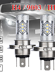 cheap -2 pcs 80w h4 16smd 6500k 7000k white light led bulb for car headlamp fog light dc12 24v