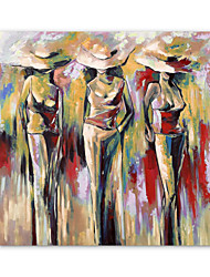 cheap -Oil Painting Hand Painted Square Abstract People Modern Stretched Canvas