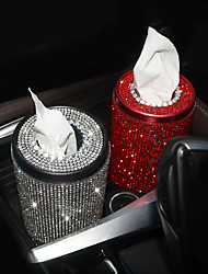 cheap -Bling Crystal Car Tissue Box Creative Diamond Paper Towel Tube Auto Tissue Paper Holder Case Home for Girls Car Accessories