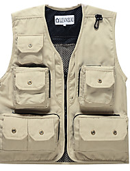 cheap -Men's Hiking Vest / Gilet Fishing Vest Sleeveless Vest / Gilet Top Outdoor Multi-Pockets Quick Dry Lightweight Breathable Summer Cotton Solid Color Black Red off-white Fishing Climbing Running