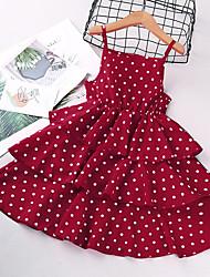 cheap -Kids Little Girls' Dress Polka Dot Sundress Print White Black Red Sleeveless Basic Cute Dresses Regular Fit