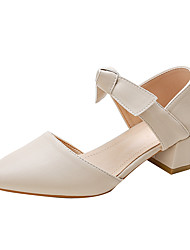 cheap -Women's Sandals Chunky Heel Pointed Toe Block Heel Sandals Casual Daily Walking Shoes PU Solid Colored Almond Brown
