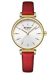 cheap -CURREN Women's Quartz Watches Analog Quartz Fashion Water Resistant / Waterproof Cool Imitation Diamond / One Year / Genuine Leather / Japanese