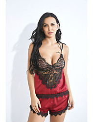 cheap -Women's Normal Backless Mesh Lace Super Sexy Chemises & Gowns Undergarments Lingerie Lingerie - Spandex Special Occasion Party / Evening Solid Colored Bras & Panties Sets Red S M L