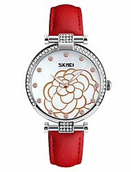 cheap -Women's Watch, Fashion Wild Leather Strap, Women's Camellia Studded Zinc Alloy Quartz Watch Adapt to Ladies Girls