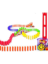 cheap -Domino Train Toy Trains & Train Sets Dominoes Set Tower Cartoon Gift Birthday Strange Toys Plastic Kids Infant Boys and Girls Toy Gift 60+1 pcs