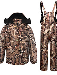 cheap -Men's Hoodie Jacket Hunting Jacket with Pants Outdoor Thermal Warm Quick Dry Breathable Sweat wicking Fall Winter Camo / Camouflage Top Bottoms Spandex Camping / Hiking Hunting Camouflage