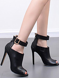 cheap -Women's Sandals Stiletto Heel Peep Toe Booties Ankle Boots High Heel Sandals Classic Daily PU Solid Colored Summer Black