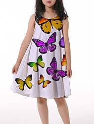 cheap -Kids Little Girls' Dress Butterfly Graphic Animal Ruched Print Beige Knee-length Sleeveless 3D Print Cute Dresses Loose 4-13 Years