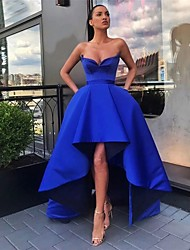 cheap -A-Line Minimalist Elegant Cocktail Party Prom Dress Off Shoulder Sleeveless Asymmetrical Satin with Sleek Pleats 2021