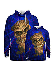 cheap -Family Look Family Matching Outfits Hoodie & Sweatshirt Graphic Optical Illusion Animal Long Sleeve Print Blue Active