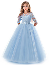 cheap -Kids Little Girls' Dress Solid Colored Flower Wedding Party Evening Hollow Out White Blue Purple Lace Tulle Maxi Short Sleeve Flower Vintage Gowns Dresses 3-13 Years