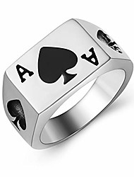 cheap -Men Woman Stainless Steel Spades Poker Ace Silver Black Ring