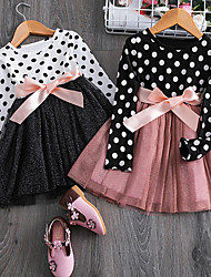 cheap -Toddler Little Girls' Dress Polka Dot Party Tutu Dresses Causal Mesh Bow White Black Knee-length Long Sleeve Basic Cute Dresses Regular Fit 2-6 Years
