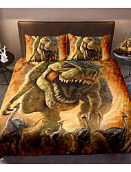 cheap -Dinosaur Series 3-Piece Duvet Cover Set Hotel Bedding Sets Comforter Cover with Soft Lightweight Microfiber, Include 1 Duvet Cover, 2 Pillowcases for Double/Queen/King(1 Pillowcase for Twin/Single