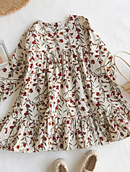 cheap -Kids Toddler Little Girls' Dress Plants Graphic Solid Colored Ruffle Patchwork Print Beige Above Knee Long Sleeve Basic Vintage Dresses Children's Day Loose 3-8 Years