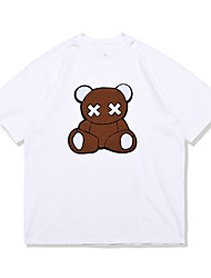 cheap -Men's Unisex T shirt Hot Stamping Bear Animal Plus Size Print Short Sleeve Daily Tops 100% Cotton Basic Casual White