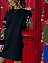 cheap -Women's Tee Dress Patchwork Crew Neck Flower Sport Athleisure Dress Long Sleeve Breathable Soft Comfortable Everyday Use Casual Daily Outdoor