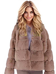 cheap -Women's Faux Fur Coat Long Solid Colored Daily White Black Blushing Pink Khaki S M L XL