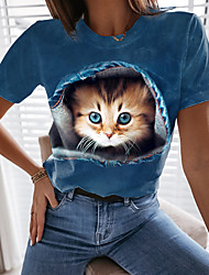 cheap -Women's 3D Cat T shirt Cat Graphic 3D Print Round Neck Tops Basic Basic Top Blue