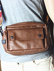 cheap -Men's Bags PU Leather Crossbody Bag Buttons Zipper Plain Daily Going out 2021 Messenger Bag dark brown Black Light Brown