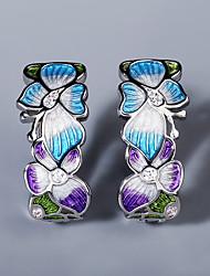 cheap -Women's AAA Cubic Zirconia Earrings Fancy Petal Elegant Colorful Sweet Earrings Jewelry Silver For Party Evening Beach Festival 1 Pair