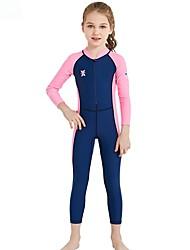 cheap -Kids Girls' Swimwear Rash Guard One Pieces One Piece Swimsuit Print Swimwear Print Color Block Blue Fuchsia Gray Active Bathing Suits 2-8 Years