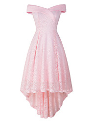 cheap -A-Line Elegant Vintage Party Wear Cocktail Party Dress Off Shoulder Sleeveless Asymmetrical Lace with Pleats 2021