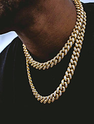 cheap -Cuban Chain Link Necklace Iced Out Necklace Hip Hop Chain Gold Silver Rose Gold 45/50/55/60 cm Necklace Jewelry 1pc For Men
