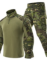 cheap -Men's Hunting Jacket with Pants Outdoor Waterproof Ventilation Wearproof Fall Spring Camo / Camouflage Cotton Polyester Camouflage Color Jungle camouflage Black