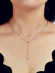 cheap -Women's Layered Necklace Alloy Silver 39 cm Necklace Jewelry For Festival