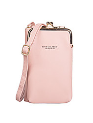 cheap -Women's Bags PU Leather Mobile Phone Bag Zipper Plain 2021 Daily Going out Black Blue Red Blushing Pink