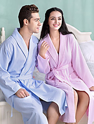 cheap -Superior Quality Unisex Bath Robe, Pink/White/Blue Pure Cotton Breathable Long Sleeve Nightgown Comfortable in Summer