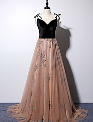 cheap -A-Line Beautiful Back Floral Prom Formal Evening Dress Spaghetti Strap Sleeveless Sweep / Brush Train Tulle with Pleats Pattern / Print 2021