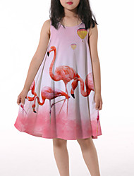 cheap -Kids Little Girls' Dress Crane Graphic Animal Ruched Print Blushing Pink Knee-length Sleeveless 3D Print Cute Dresses Loose 4-13 Years