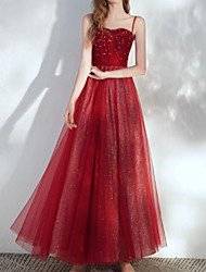 cheap -A-Line Sparkle Sexy Engagement Prom Dress Spaghetti Strap Sleeveless Floor Length Tulle with Pleats Beading 2021