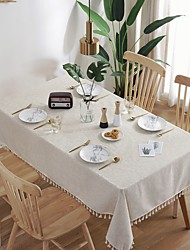 cheap -Tablecloth Art Nordic Bamboo Knotted Linen with Tassel Tablecloth Tea Coffee Table for Dining Table Home Room Decoration