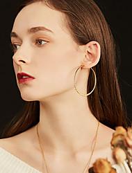 cheap -Women's Hoop Earrings Earrings Ear Clips Geometrical Fashion Stylish Simple Stainless Steel Earrings Jewelry Black / Gold / Silver For Birthday Street Gift Festival