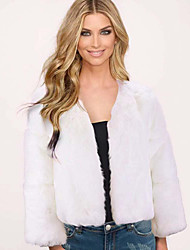 cheap -Women's Solid Colored Basic Faux Fur Coat Short Daily Long Sleeve Faux Fur Coat Tops White