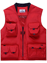 cheap -Men's Hiking Vest / Gilet Fishing Vest Sleeveless Vest / Gilet Top Outdoor Multi-Pockets Quick Dry Lightweight Breathable Summer Nylon Solid Color Black Red off-white Fishing Climbing Running