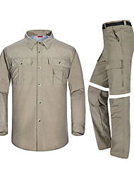 cheap -Men's Hiking Shirt with Pants Convertible Pants / Zip Off Pants Long Sleeve Outdoor Quick Dry Fast Dry Breathability Multi Pocket Convert to Short Sleeves Clothing Suit Spring Summer Polester